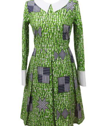 Taye-africanprints-dress-peterpancollar-ubrania-afrykanskie-moda-w-warszawa-skleponline-zakupyonline-greenandwhite-dress