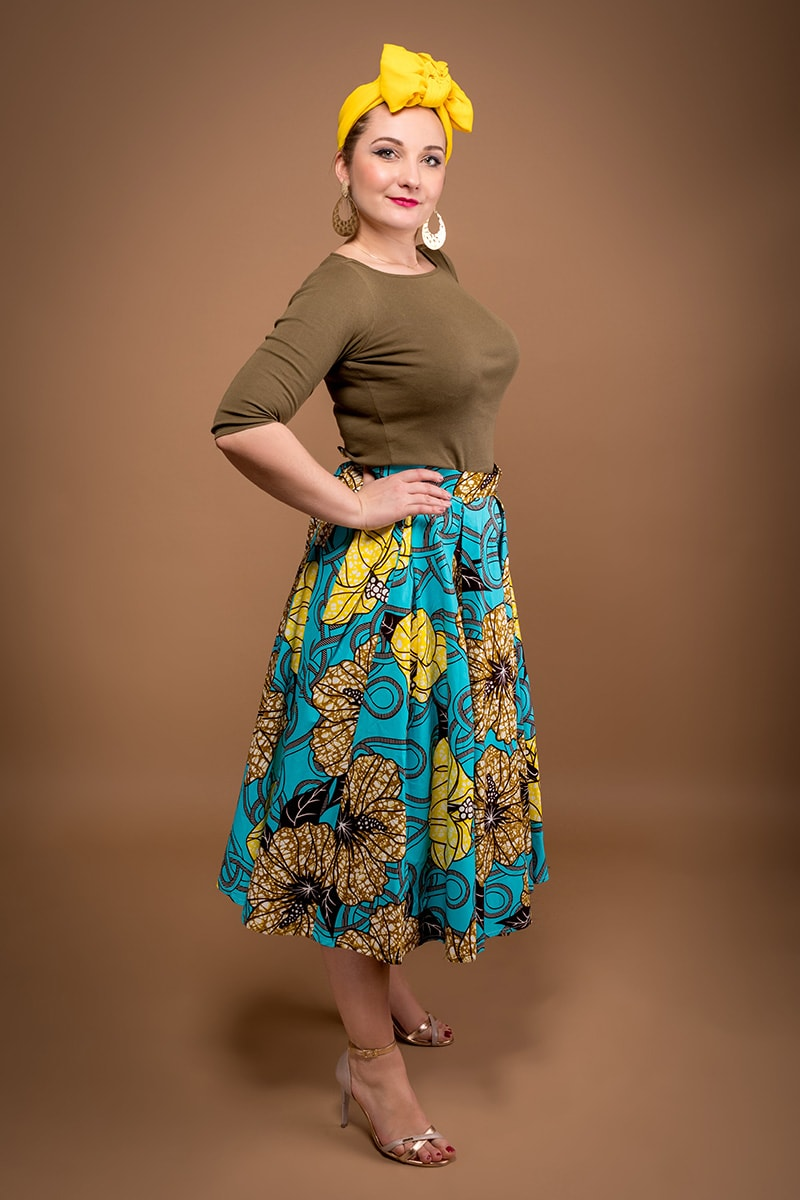 1d4cef6c29 Tade flower midi skirt made of African print 100% cotton designed by ...