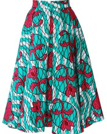 TAYE-african-print-midi-skirt-afrykanskie-midi-Spodnice-moda-damskie-green-pink-front-min