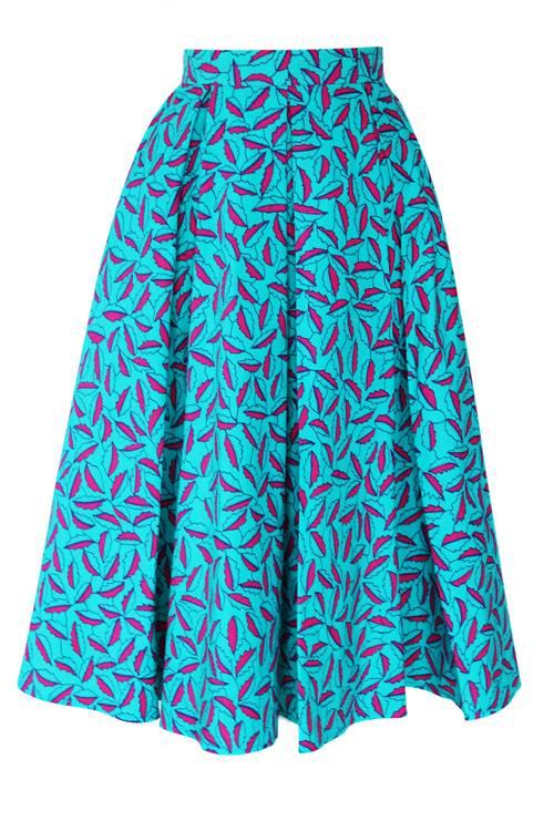 TAYE-african-print-midi-skirt-afrykanskie-midi-Spodnice-moda-damskie-pink-leaves-front