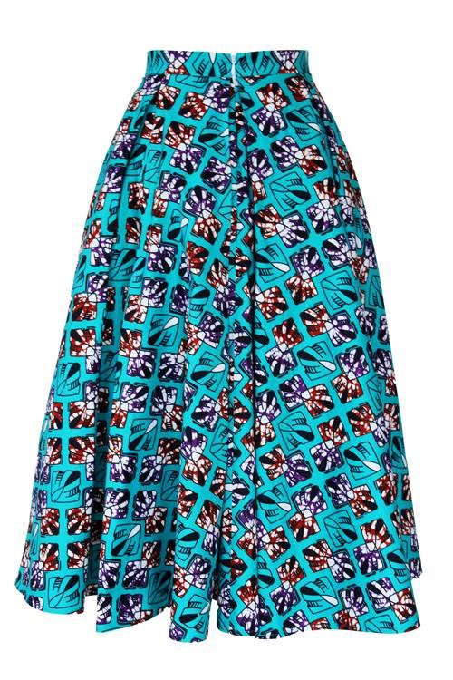 TAYE-african-print-midi-skirt-afrykanskie-midi-Spodnice-moda-damskie-turquoise-burgundy-front