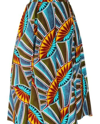 TAYE-african-print-midi-skirt-afrykanskie-midi-Spodnice-moda-damskie-yellow-leave-front