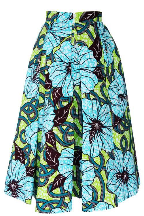 TAYE-african-print-midi-skirt-afrykanskie-midi-Spodnice-moda-damskie-yellow-light-green-back