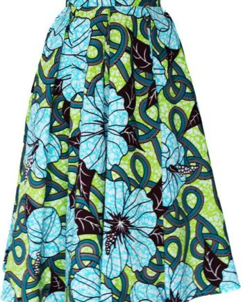 TAYE-african-print-midi-skirt-afrykanskie-midi-Spodnice-moda-damskie-yellow-light-green-front