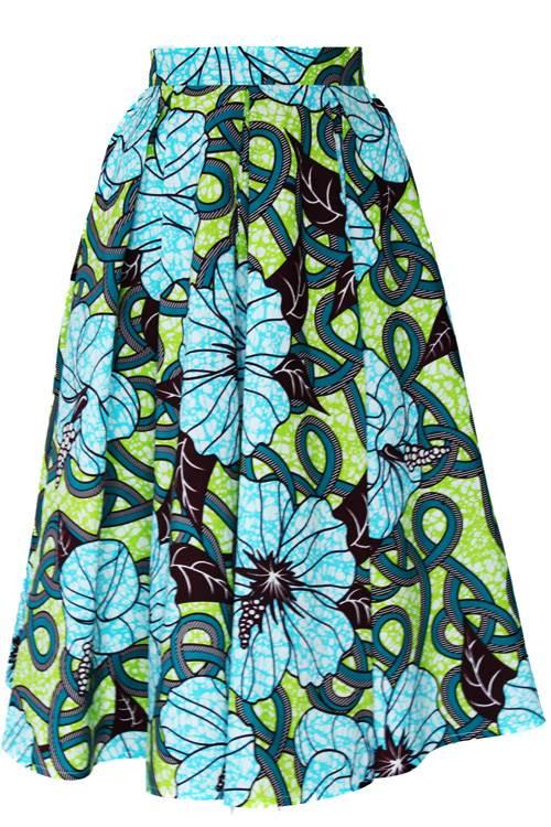 TAYE-african-print-midi-skirt-afrykanskie-midi-Spodnice-moda-damskie-yellow-light-green-front