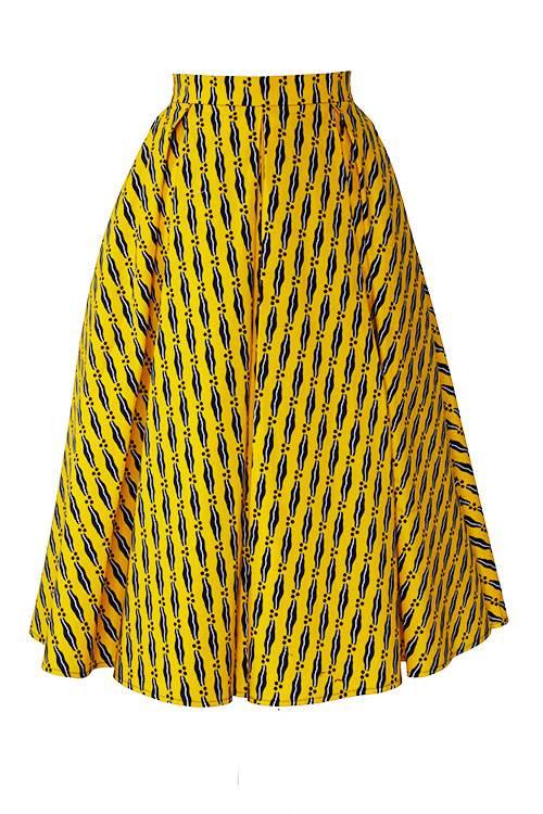TAYE-african-print-midi-skirt-afrykanskie-midi-Spodnice-moda-damskie-yellow-white-navy-front
