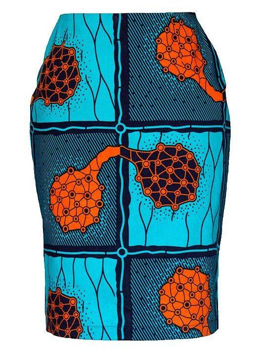 TAYE-african-print-pencil-skirt-afrykanskie-olowkowe-Spodnice-moda-damskie-orange-and-turqouise-front