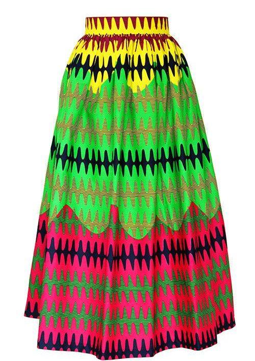 TAYE-african-print-wax-maxi-skirt-spodnice-afrykanskie-maxi-lemon-yellow-pink-front