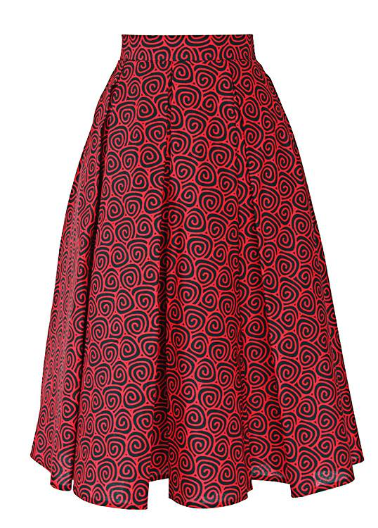 TAYE-african-print-wax-midi-skirt-afrykanskie-kolor-spodnice-moda-damskie-red-and-black-front