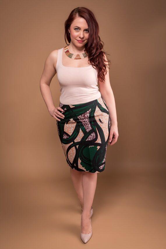 TAYE-african-print-wax-pencil-skirt-green-and-burgundy-min
