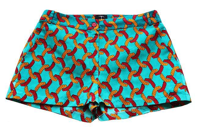 Taye-african-print-shorts-Afrykanskie-szorty-moda-polsce-green-olive-front