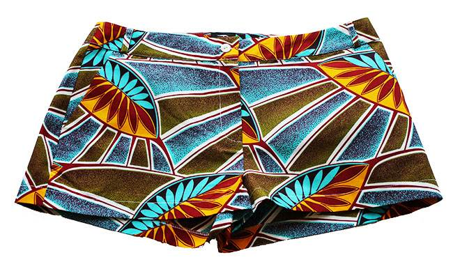 Taye-african-print-shorts-Afrykanskie-szorty-moda-polsce-green-olive-turquoise-leave-front