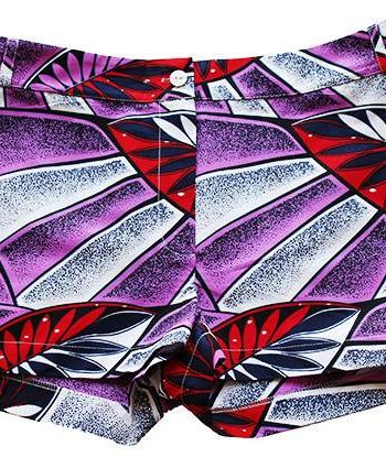 Taye-african-print-shorts-Afrykanskie-szorty-moda-polsce-purple-red-leave-front