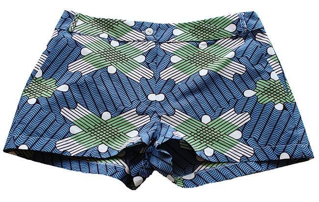 Taye-african-print-shorts-Afrykanskie-szorty-moda-polsce-sky-blue-green-front