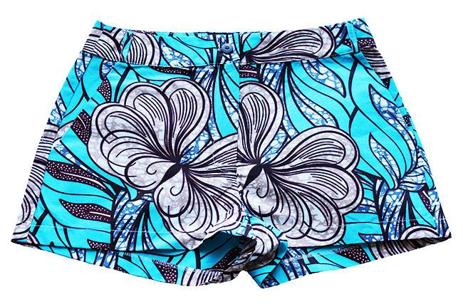 Taye-african-print-shorts-Afrykanskie-szorty-moda-polsce-skyblue-brown-front