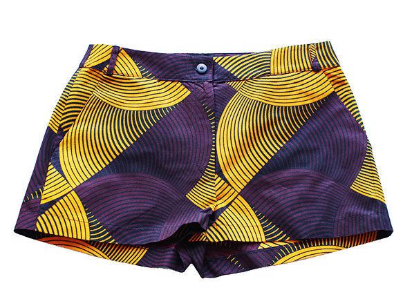 Taye-african-print-shorts-Afrykanskie-szorty-moda-polsce-yellow-and-burgundy1-front