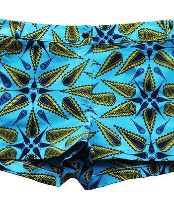Taye-african-print-shorts-Afrykanskie-szorty-moda-polsce-yellow-turquoise-navy-front1