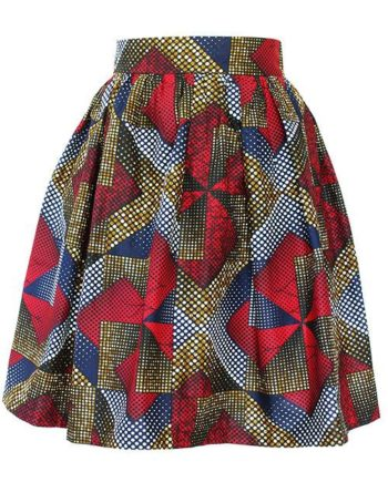 Taye-african-print-flare-skirt-brown-red-navy-afrykanskie-mini-spodnice-spodnia-front