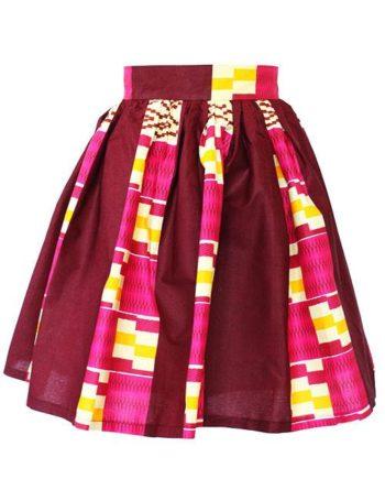 Taye-african-print-flare-skirt-burgund-cream-afrykanskie-mini-spodnice-spodnia-back