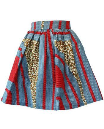 Taye-african-print-flare-skirt-grey-brown-red-afrykanskie-mini-spodnice-spodnia-front