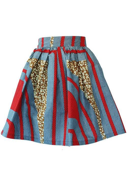 Taye-african-print-flare-skirt-grey-brown-red-afrykanskie-mini-spodnice-spodnia-front