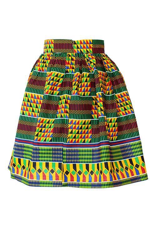 Taye-african-print-flare-skirt-red-yellow-blue-kente-afrykanskie-mini-spodnice-spodnia-back
