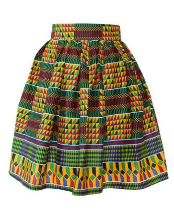 Taye-african-print-flare-skirt-red-yellow-blue-kente-afrykanskie-mini-spodnice-spodnia-front