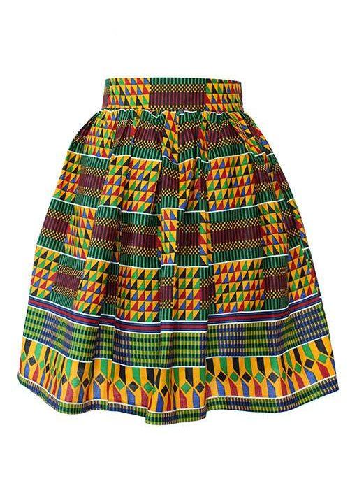 Taye-african-print-flare-skirt-red-yellow-blue-kente-afrykanskie-mini-spodnice-spodnia-front