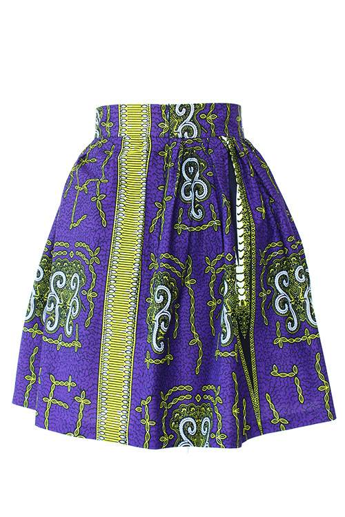 Taye-african-print-flare-skirt-yellow-white-purple-afrykanskie-mini-spodnice-spodnia-back