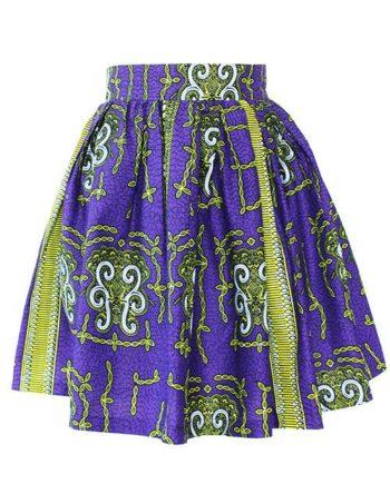 Taye-african-print-flare-skirt-yellow-white-purple-afrykanskie-mini-spodnice-spodnia-front