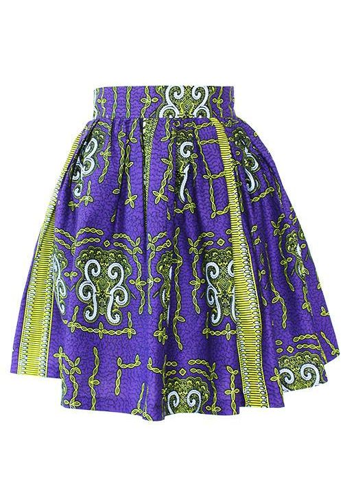 Taye-african-print-flare-skirt-yellow-white-purple-afrykanskie-mini-spodnice-spodnia-front