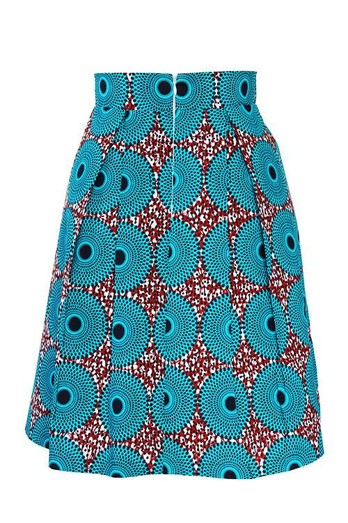 Taye-african-print-pleat-flare-skirt-burgundy-blue-white-afrykanskie-mini-spodnice-spodnia-back-Layi-turquoise-pleat-skirt
