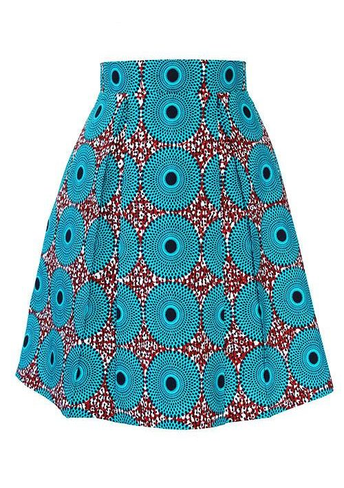 Taye-african-print-pleat-flare-skirt-burgundy-blue-white-afrykanskie-mini-spodnice-spodnia-front