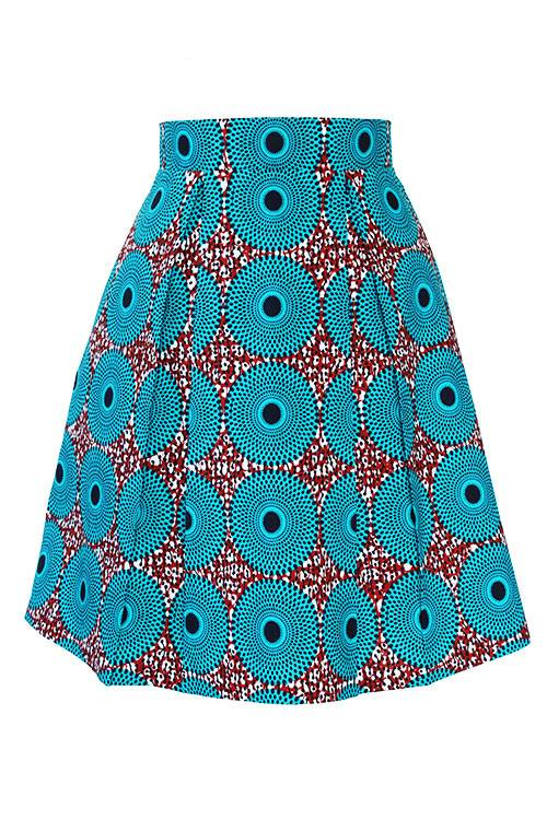 Taye-african-print-pleat-flare-skirt-burgundy-blue-white-afrykanskie-mini-spodnice-spodnia-front