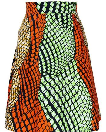 Taye-african-print-pleat-flare-skirt-orange-green-yellow-afrykanskie-mini-spodnice-spodnia-front
