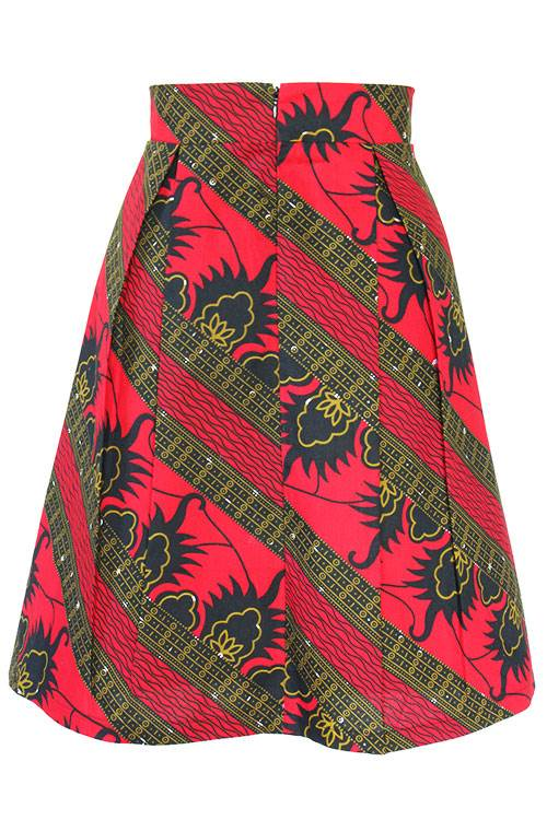 Taye-african-print-pleat-flare-skirt-red-black-gold-afrykanskie-mini-spodnice-spodnia-back