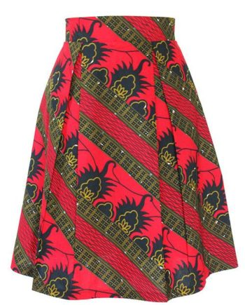 Taye-african-print-pleat-flare-skirt-red-black-gold-afrykanskie-mini-spodnice-spodnia-front