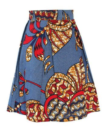 Classic orange african print pleat skirt