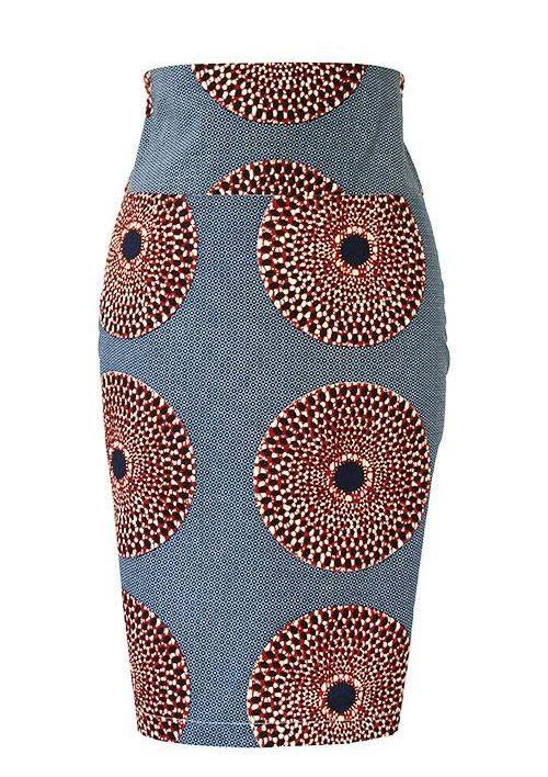 Taye-african-print-pleat-pencil-skirt-grey-burgundy-afrykanskie-mini-spodnice-spodnia-olowek-front-1