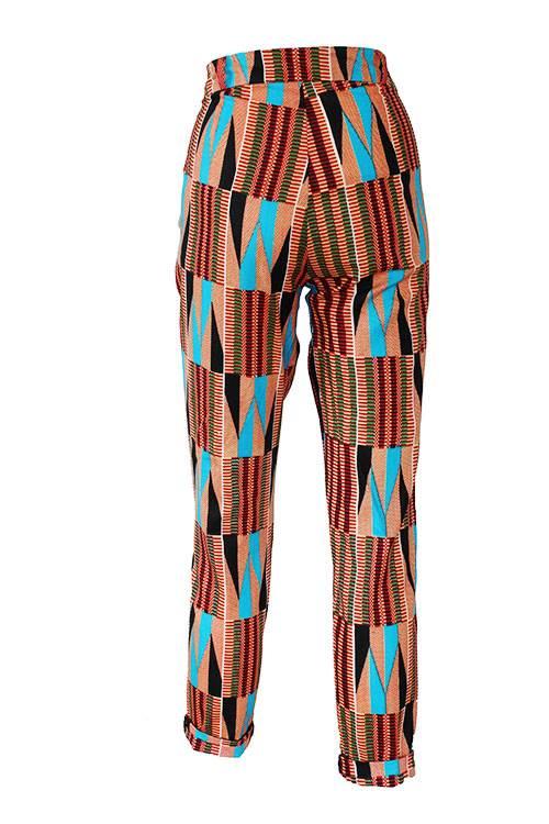 Taye-african-print-trouser-afrykanskie-spodnie-brown-gold-turquoise-back