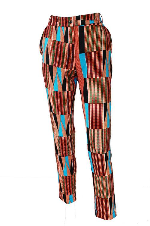 Taye-african-print-trouser-afrykanskie-spodnie-brown-gold-turquoise-front