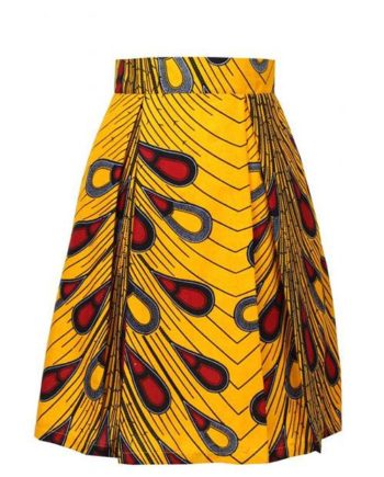 Taye-yellow-peacock-african-print-pleat-skirt-Afrykanskie-spodnice