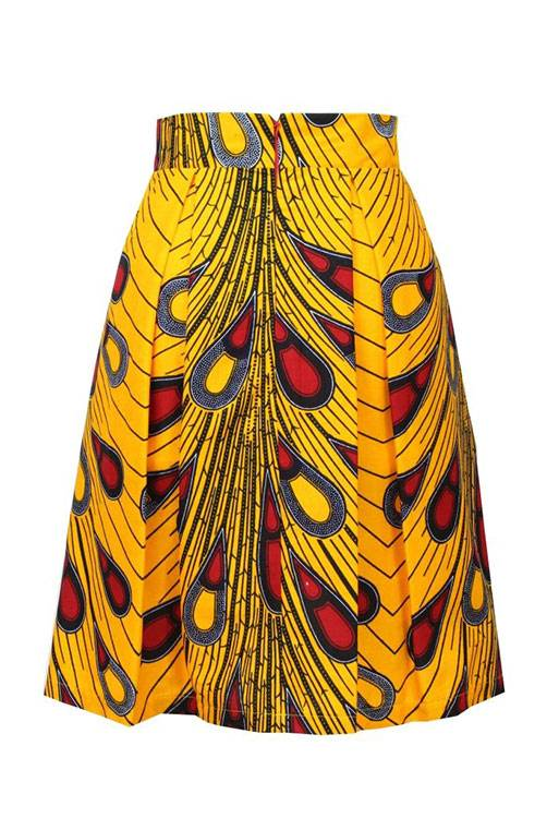 Taye-yellow-peacock-african-print-pleat-skirt-Afrykanskie-spodnice-back