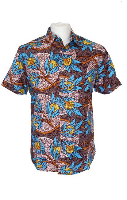 men-shirt-meski-koszule-african-print-afrykanskie-wzory-brown-kupic