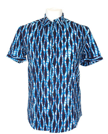 men-shirt-meski-koszule-african-print-afrykanskie-wzory-niebieski-Rahim-button-up-collar-short-sleeve-shirt