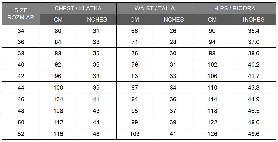 women-dress-damska-sukienki-size-chart-tabela-rozmiarow