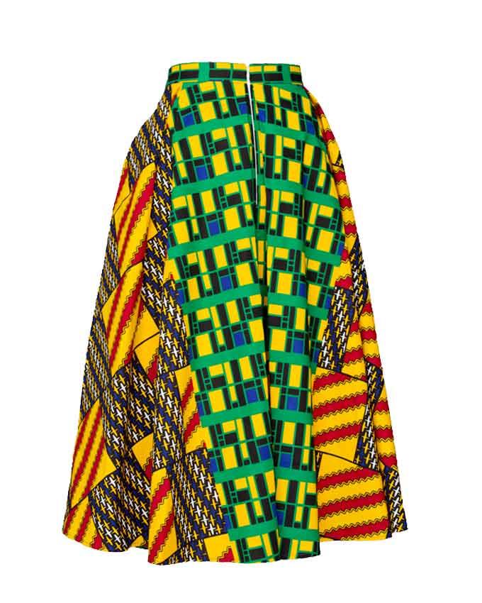 Kente-green-pleat-skirt-ghana-wroclaw-damska-spodnica-w-polsce-gdansk-moda-afryka-kobieta-spódnica-pilsowana-midi-kente