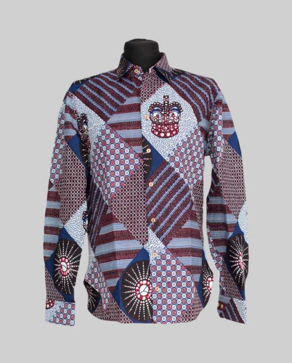Ekong African print shirt Long sleeve