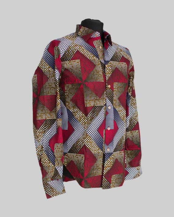 ibilola-fitted-men's-shirt-long-sleeve-burgundy-kolorowy-afrykanskie-koszula-w-polsce